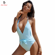 Ariel Sarah 2018 New Bandage One Piece Swimsuit Sexy Plus Size Swimwear Low Bust Swimming Suit Women Bathing Suit Bechwear Q034