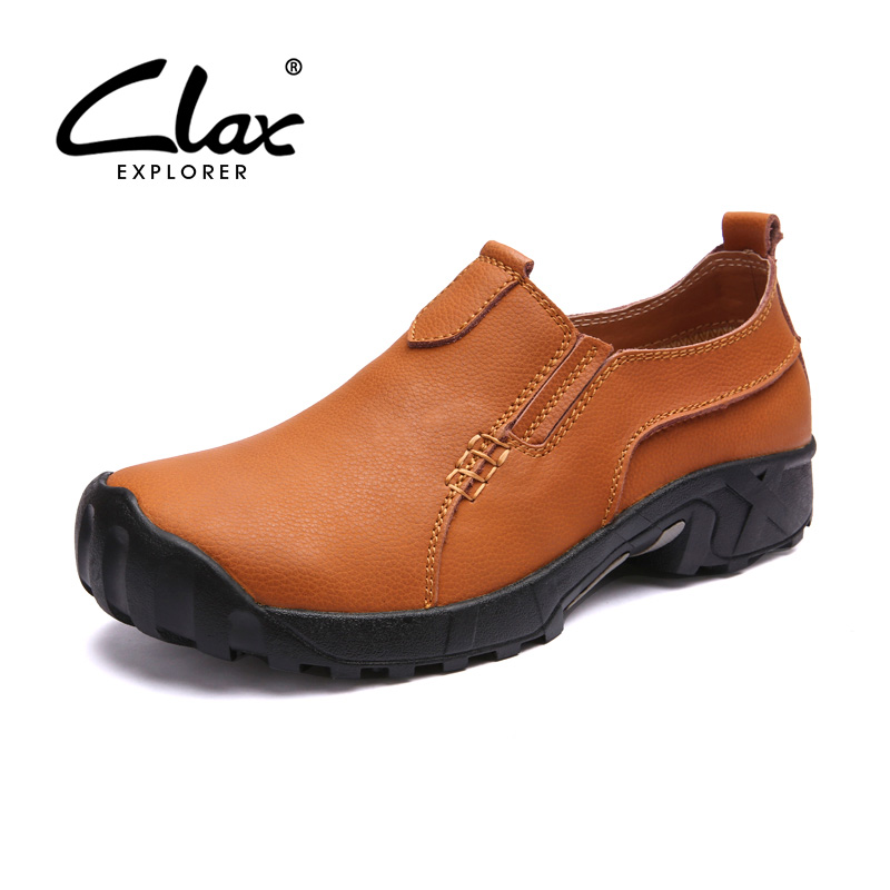 CLAX Mens Walking Shoe Spring Summer Autumn Casual Footwear Slip on Male Leather Shoes Outdoor Safety Loafer Sofe larger size men shoes 2017 spring summer autumn breathable mesh hollow mens shoes outdoor flat shoe slip on platform shoes