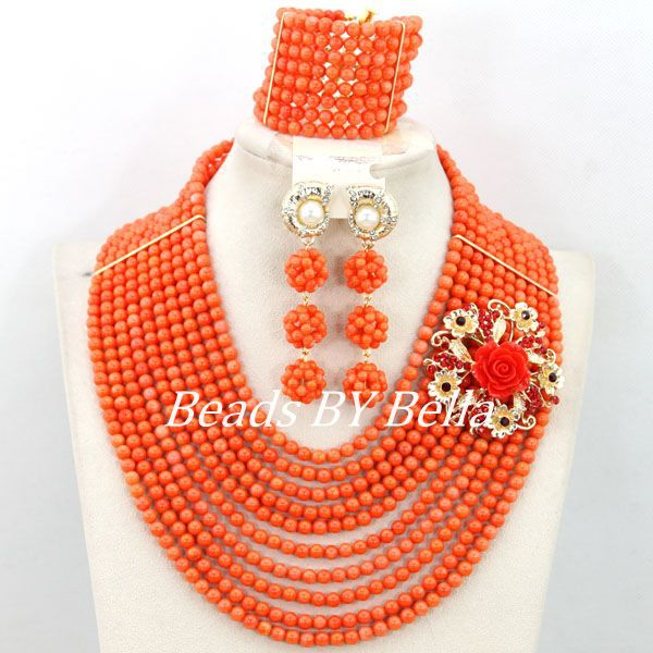 Handmade African Coral Beads Bridal Jewelry Set Fashion Women Necklace Coral Beads Set Bride Gift Jewelry Free Shipping ABY409Handmade African Coral Beads Bridal Jewelry Set Fashion Women Necklace Coral Beads Set Bride Gift Jewelry Free Shipping ABY409