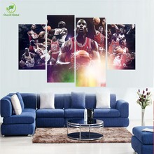 2017 Hot High Quality 4PCS Abstract Canvas Painting Michael Jordan Star Poster Wall Pictures For Living Room Oil Art Painting