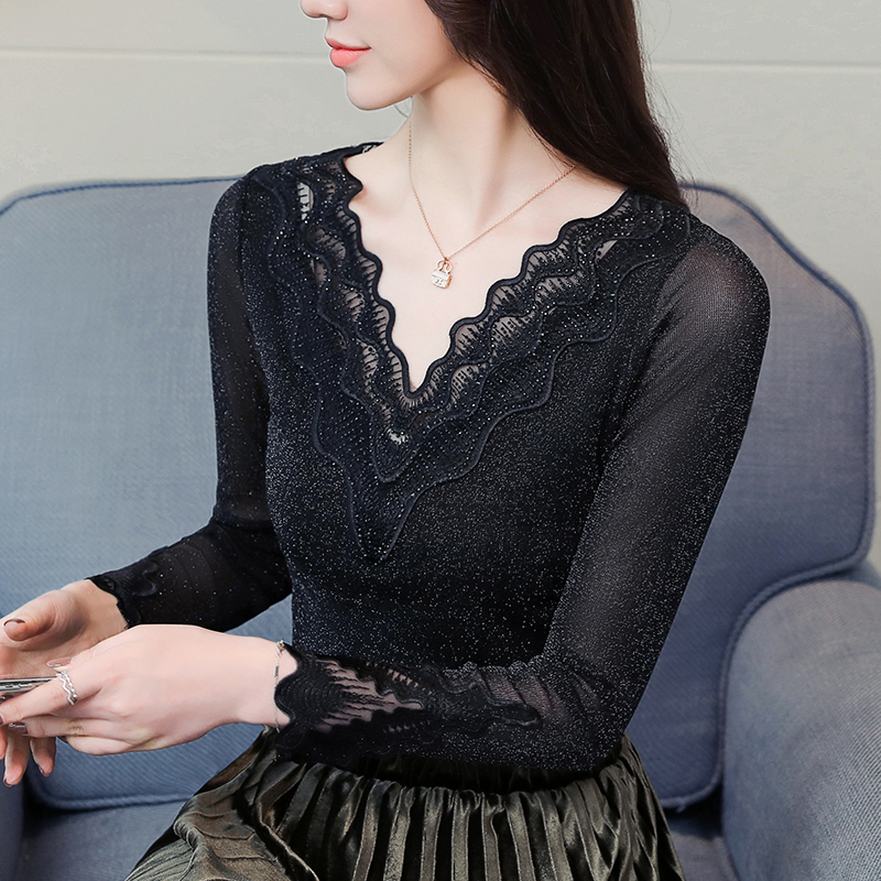 Women   Shirts   Patchwork Full Sleeve Mesh Lace V-Neck Gold And Silk Sexy   Blouse     Shirt   Khaki Routine Black Conventional 3001