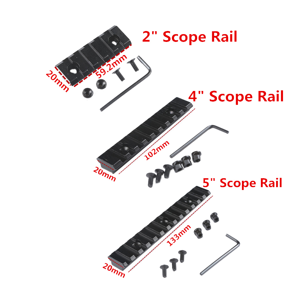 "2"" 4"" 5"" Picatinny Rail Weaver Scope Mount Rail 20mm Rail Adapter Scope Mounts For Airsoft Hunting Accessories(China)"
