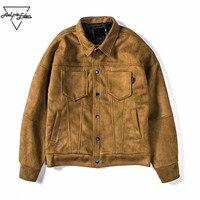 Aelfric Eden Bahar Erkek Kadın Vogue Süet Ceket Amerikan Sokak Düşen Omuz Ceket Ceket Adam Düz Renk Lokomotif Ceketler