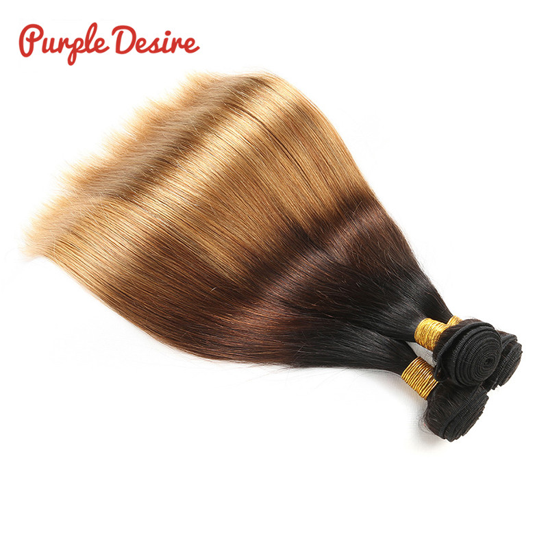 3 Bundles Ombre Peruvian Straight Hair 1B427 Human Hair Weave Three Tone Machine Double Weft 100gpc Non Remy Hair Extensions (1)