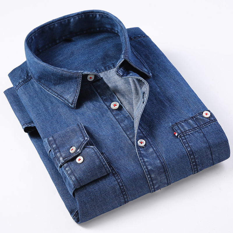 New Fashion Soft  Denim Men Casual Jeans Shirts Turn Down Collar Long Sleeve Leisure Quality Male Tops