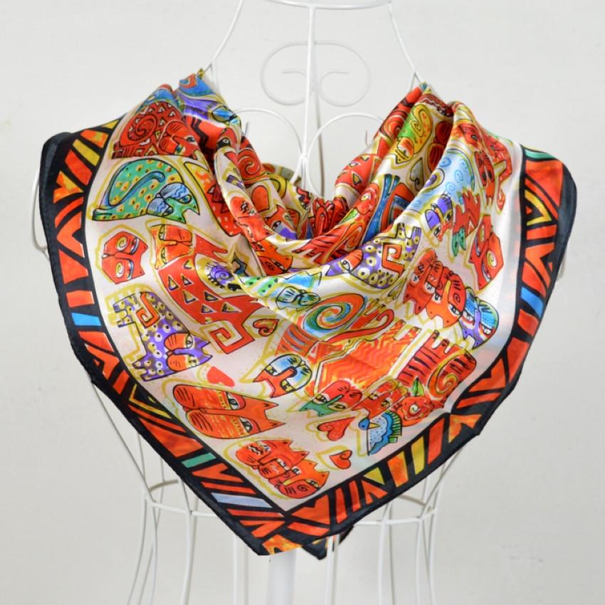 90*90cm Orange 100% Mulberry Silk Large Square Silk Scarf Printed,Fashion Spring Hot Sale 100% Silk Crepe Satin Women Scarves