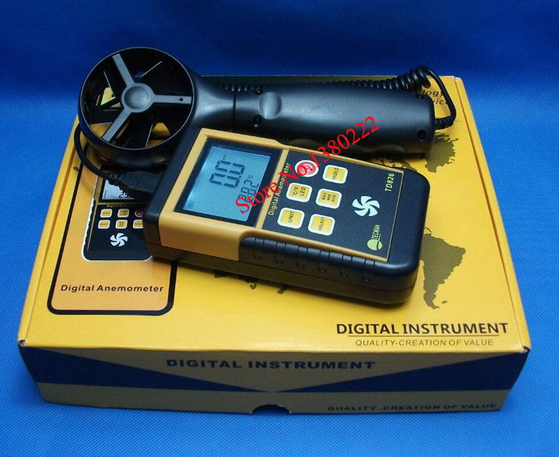ФОТО High quality handheld anemometer TD826 Wind speed range 0.3 ~ 45 m/S wind speed meter standard USB interface free shipping