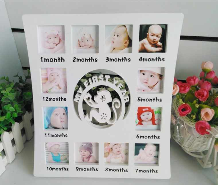 12Boxes Baby's First Year Picture Frame ,Hanging Decorative Photo Frame Marcos De Fotos Cadre Photo Free Shipping 26*30cm