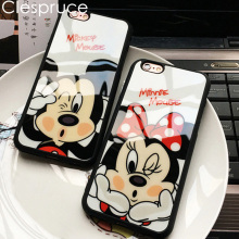 Clespruce Cartoon Mirror Mickey Mouse Minnie cover soft silicone Phone case For iPhone X 8 8plus