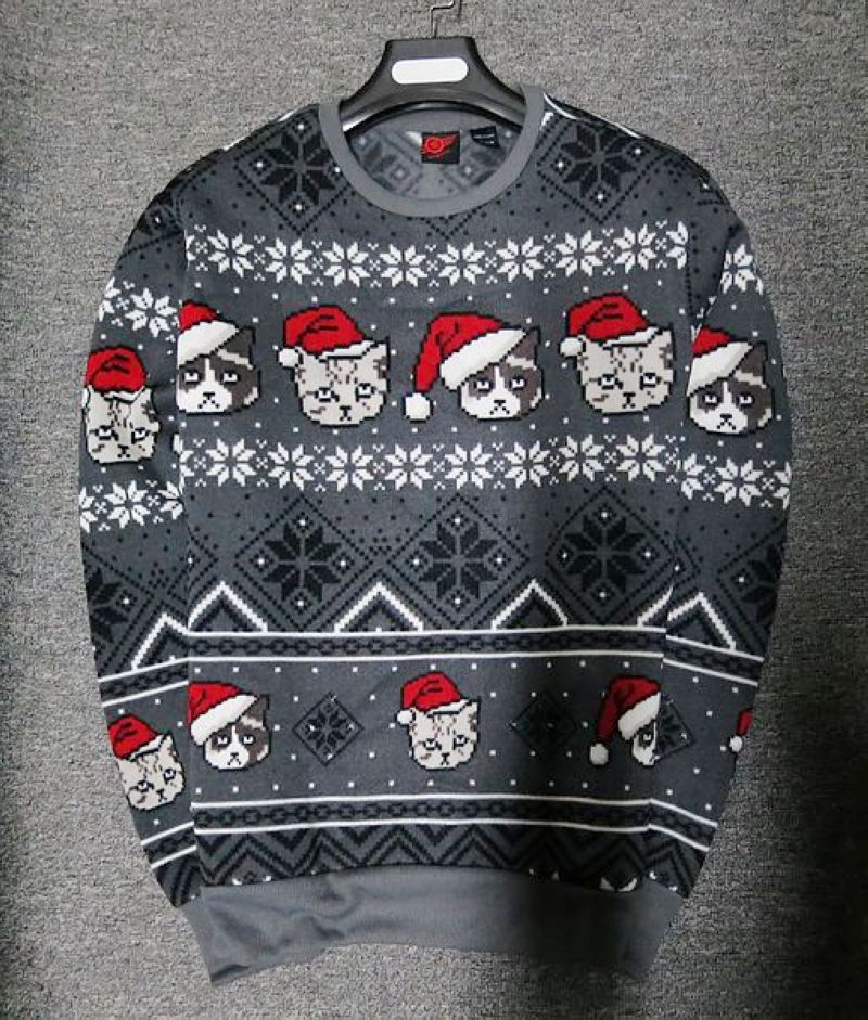 Sweater Male Autumn Winter Cartoon Christmas Sweatshirt Men Pullover Fleece Snowflake Animal Gray
