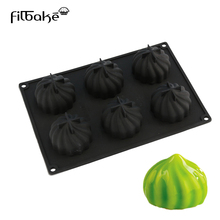 Silicone Cake Molds 6 Cavity Steamed Dumplings Cyclone Shaped Baking Mousse Western Dessert Decorating Mold