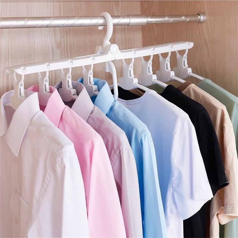 Portable Clothes Drying Rack Fodable Plastic Clothing Drying Hanger Hook Closet Organizer Home Gadget Storage Rack 8Pcs Hanger