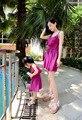 2016 Новый Летний Соответствия Семья Шифоновое Платье Мама И Дочь Пляж Жабо Bodycon Семьи Соответствующие Наряды Платье Горячей Продажи