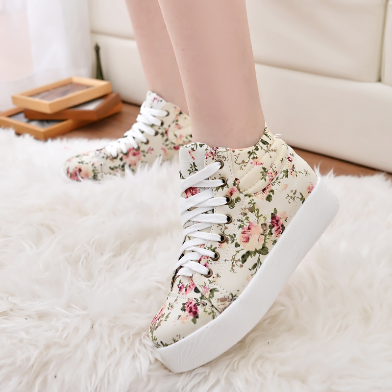 Women Print Vulcanize Shoes Flower Canvas Sneakers Added Shoes Platform Height Increased Women White Casual Summer Shoes ALD903 casual style print and canvas design satchel for women