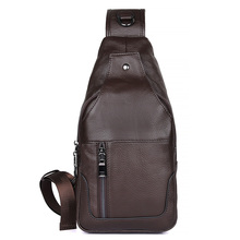 J.M.D Genuine Leather Funny Shoulder Bag Charming Mens Chest Cross Body Fashion Coffee Color 4004C
