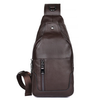 J.M.D Genuine Leather Funny Shoulder Bag Charming Men's Chest Cross Body Leather Bag Fashion Coffee Color Bag 4004C
