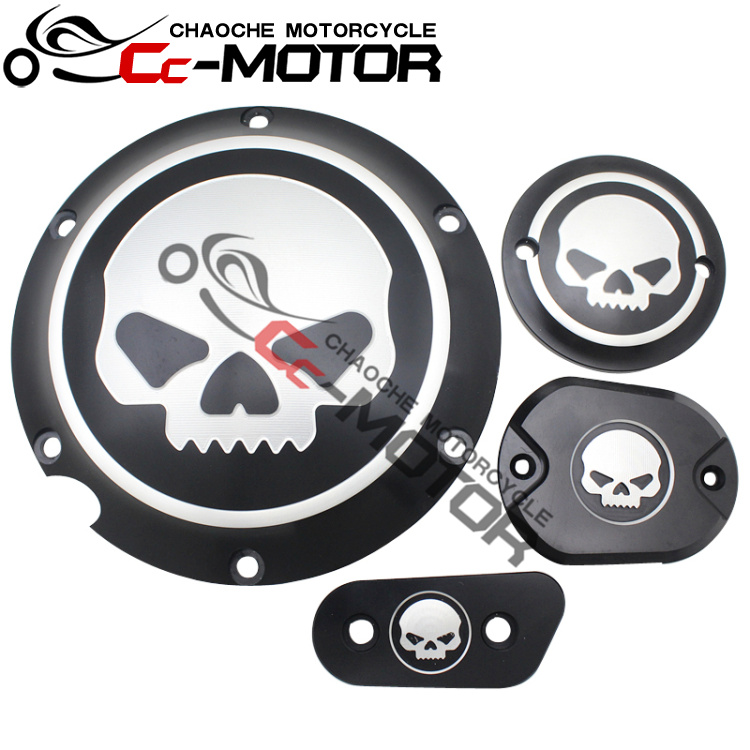Skull Engine Cover Derby Timer TIMING Cover Reservoir Cover For Harley XL883 XL1200 X48 72 derby cover