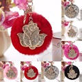 A40 New Fashion Cute Keyring Fluffy Rabbit Fur HandBag Rose Pendant Charm Ball Pearl Pompom Keychain