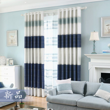 Chenille Tulle And Curtain For Living Room Blackout Fabric Drape Bedroom Striped Blue Blind Nordic Window Panel Thick Home Decor