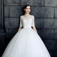 C V 2017 New Design Bride Dresses Woman Slit Neckline Plus Size Vintage Princess Half Sleeve