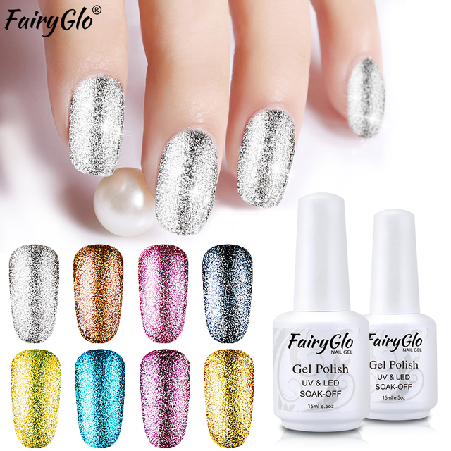 Fairyglo 15ml Super Bling Platinum Gel Polish Glitter White Bottle Nail Uv Led