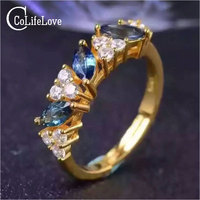 Moda fashion 925 argento della pietra preziosa dell'anello 3 pz 3mm * 6mm anello di zaffiro naturale solido argento 925 zaffiro anello per la donna