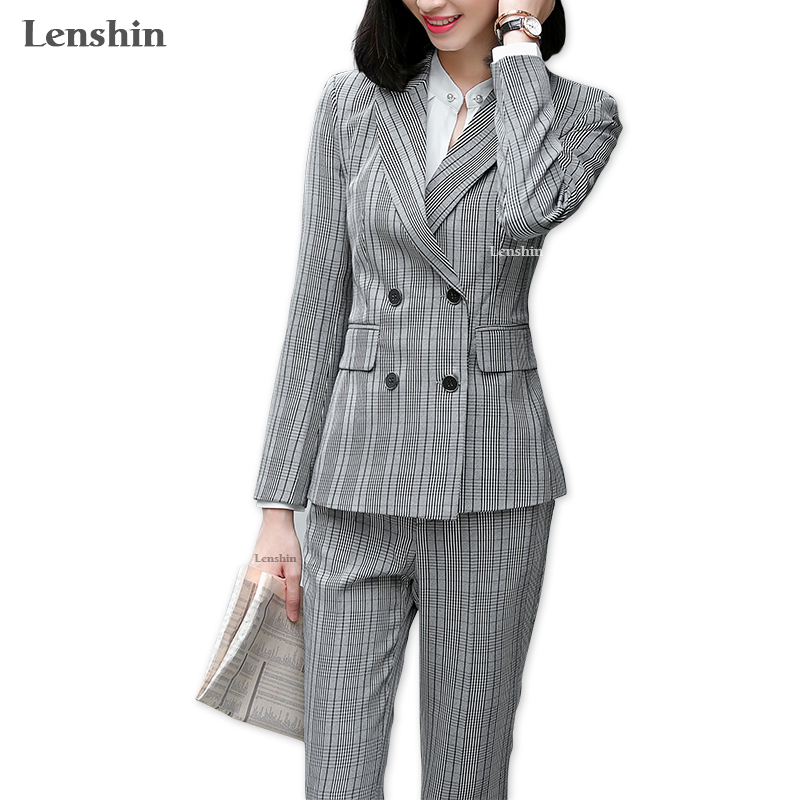 Blazers Box Office: Lenshin 2 Piece Set Formal Pant Suit Double Breasted