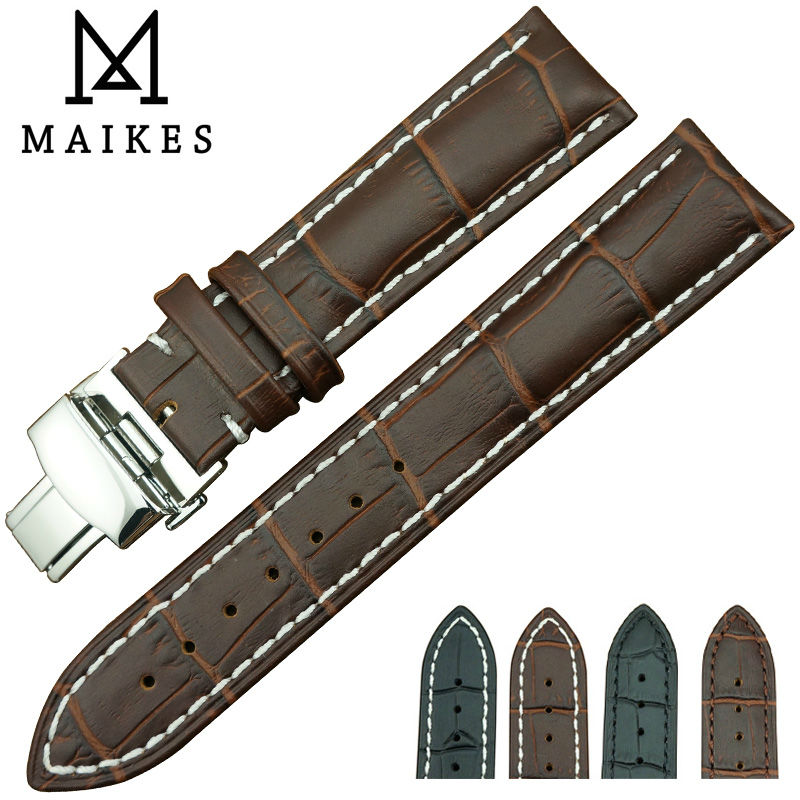 MAIKES Factory Direct Sale New Arrival Men Genuine Leather Watch Strap Black Butterfly Buckle 20mm Watch