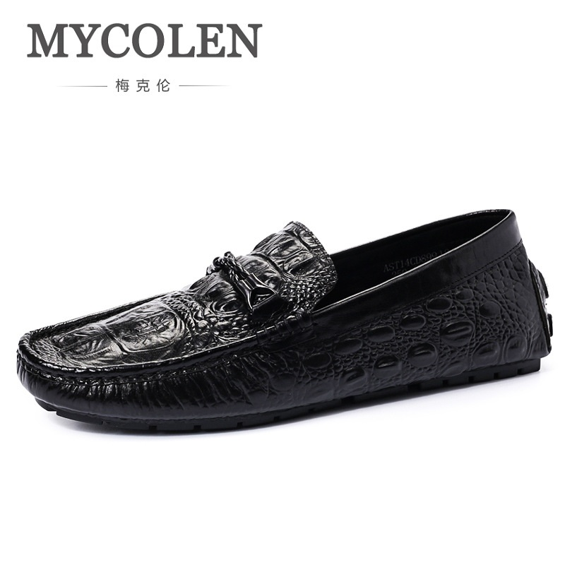 MYCOLEN Brand Mens Loafers Casual Shoes Fashion Peas Shoes Patent Leather Men Moccasins Slip On Men's Flats Male Driving Shoes mycolen mens loafers genuine leather italian luxury crocodile pattern autumn shoes men slip on casual business shoes for male