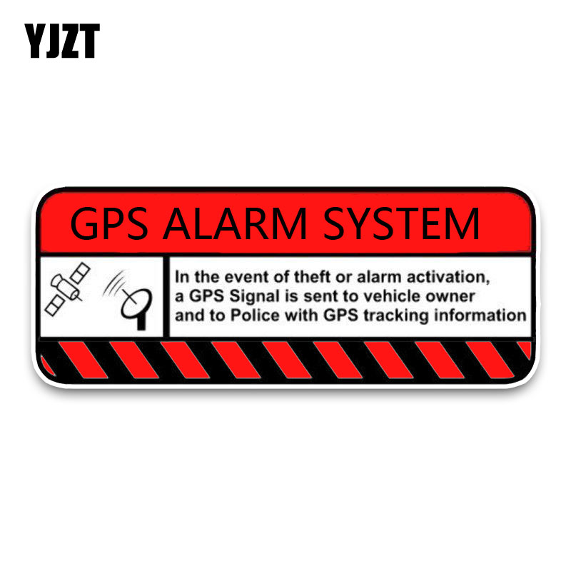 YJZT 15.6*6.8CM Red Bold Signal Warning GPS Alarm System Activition PVC Car Sticker Decals C1-3076