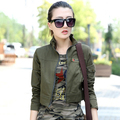 Longitud corta Chaqueta Verde Del Ejército de Las Mujeres 2017 Nuevas Señoras Del Estilo Militar Del Ejército Chaquetas de Cuello de Pie El Envío Libre