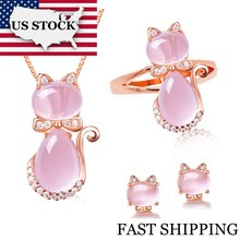 USA STOCK Uloveido Cute Cat Bridal Jewelry Sets Animal Pink Opal Ring Stud Earrings and Necklace Rose Gold Color Jewellery Y427