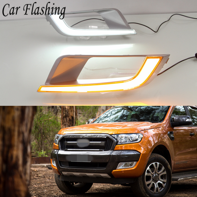 Car Flashing 2PCS For Ford Ranger Wildtrak 2015 2016 2017 2018 LED DRL Daytime Running Light