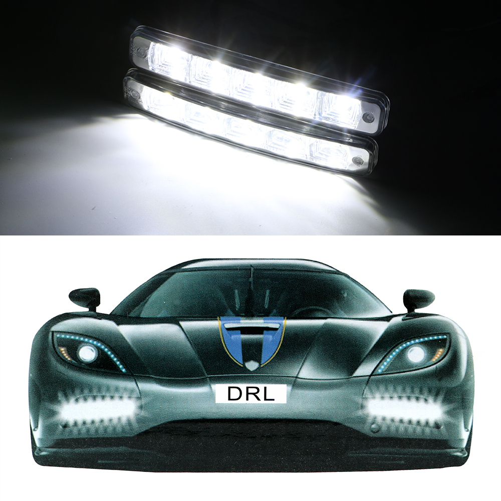 2pcs Car DRL Driving Light Car-styling LED Daytime Running Lights DC 12V Auto Fog Lamp High Quality Super Bright 5 LEDs itimo 2pcs led car headlight h3 headlamp auto fog lamp drl cob driving bulb car daytime running light car styling super bright
