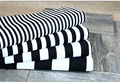 Tela impressa da cortina sofá da tela conjunto de vermelho e branco listrado preto e azul dot