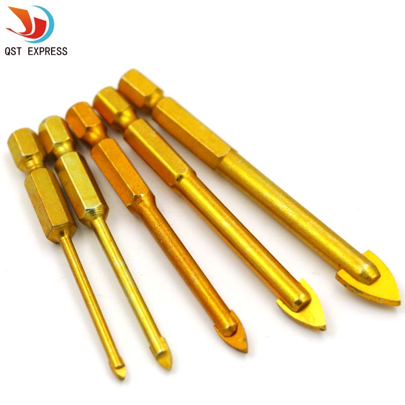 5 Pieces Tungsten Carbide TCT Glass Drill Bits Set Titanium Coated Power Tools Accessories with 1/4 Hex Shank 6 piece lot titanium coated glass drill bits set with tungsten carbide tip and hex shank 3 4 6 8 10mm free shipping