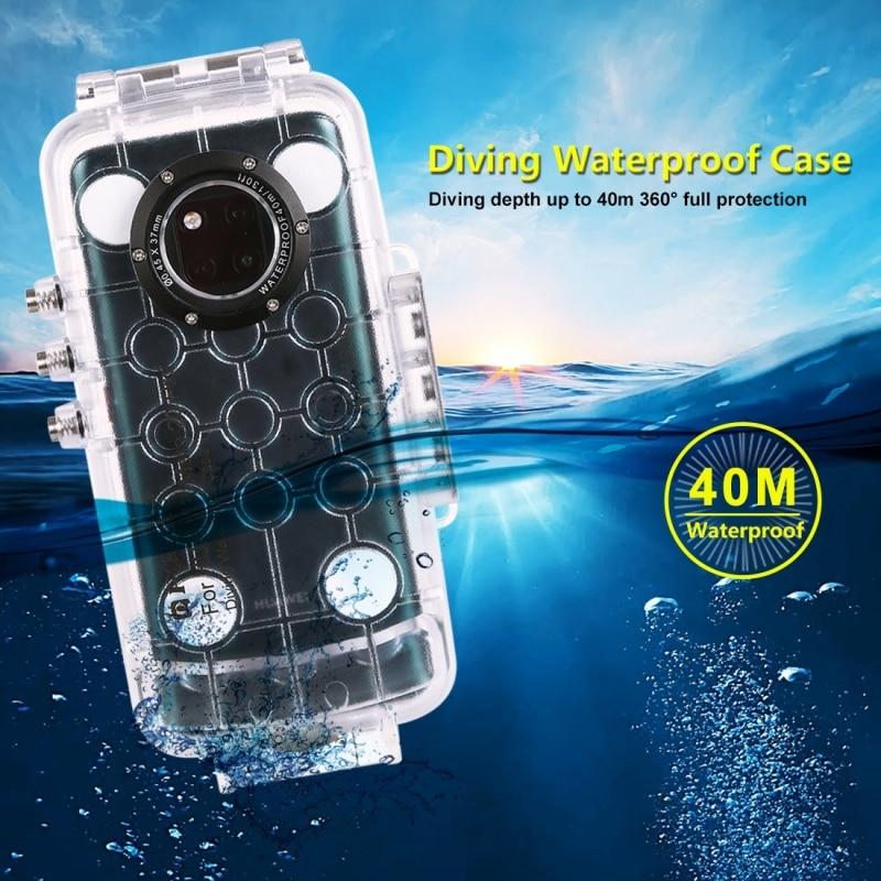 PULUZ voor Huawei Mate 20 Pro duiken waterproof case PC + ABS beschermhoes 40 meter waterdicht (kleur: transparant kleurloos) - 3