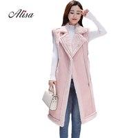 New 2018 Winter Women Keep Warm Faux Suede Jacket Women Sleeveless Slim Wool Long Waistcoat Fashion Solid Ladies Leather Jackets