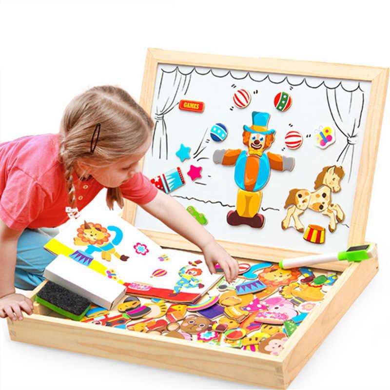 100 шт Магнитные фигурки-головоломки/Животные/транспортное средство/цирковая труппа, доска для рисования, 5 стилей, коробка для пазлов, деревянная игрушка, Детская Подарочная наклейка