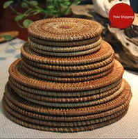 Tea accessories Tea Mat Hand Woven Rattan Coasters Table Plate insulation Pad Bowl Mat Teapot Pad Placemats Free Shipping