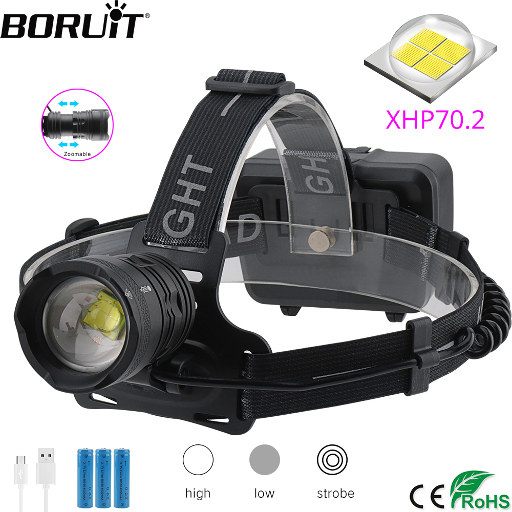 BORUiT XHP70.2 LED Headlamp 3-Mode Zoom Headlight 5000LM Super Bright Head Torch 18650 Rechargeable Camping Hunting Flashlight