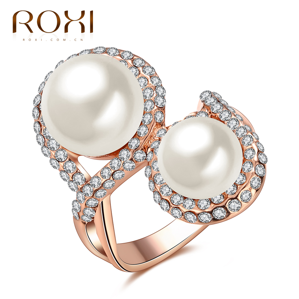 ROXI Brand Hot Sale Pearl Jewelry Ring For Women Two Beads Cross Rose Gold Noble Ring For Wedding And Gift
