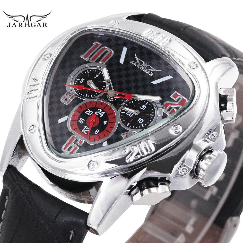 Luxury Fashion Uomo Automatico Meccanico Orologi Da Polso Top Brand VINCITORE Orologi degli uomini del Triangolo 3 Sub-dial 6 Mani reloj hombre