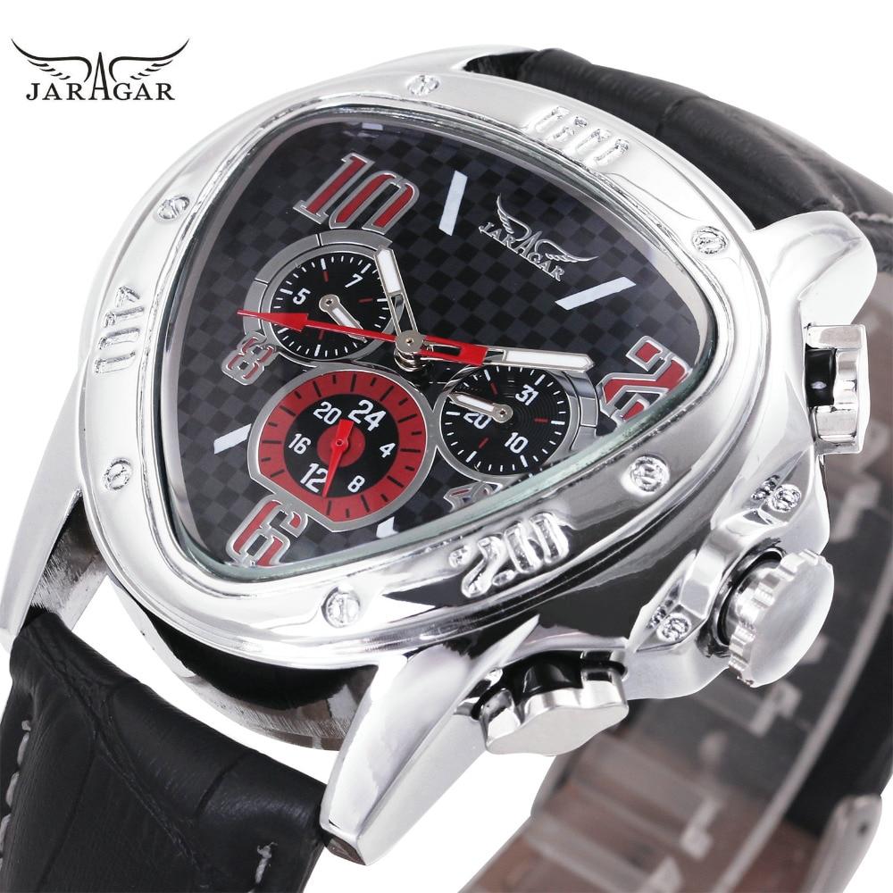 Moda de lujo de los hombres mecánicos automáticos relojes Top marca WINNER triángulo hombres relojes 3 sub-diales 6 manos reloj hombre