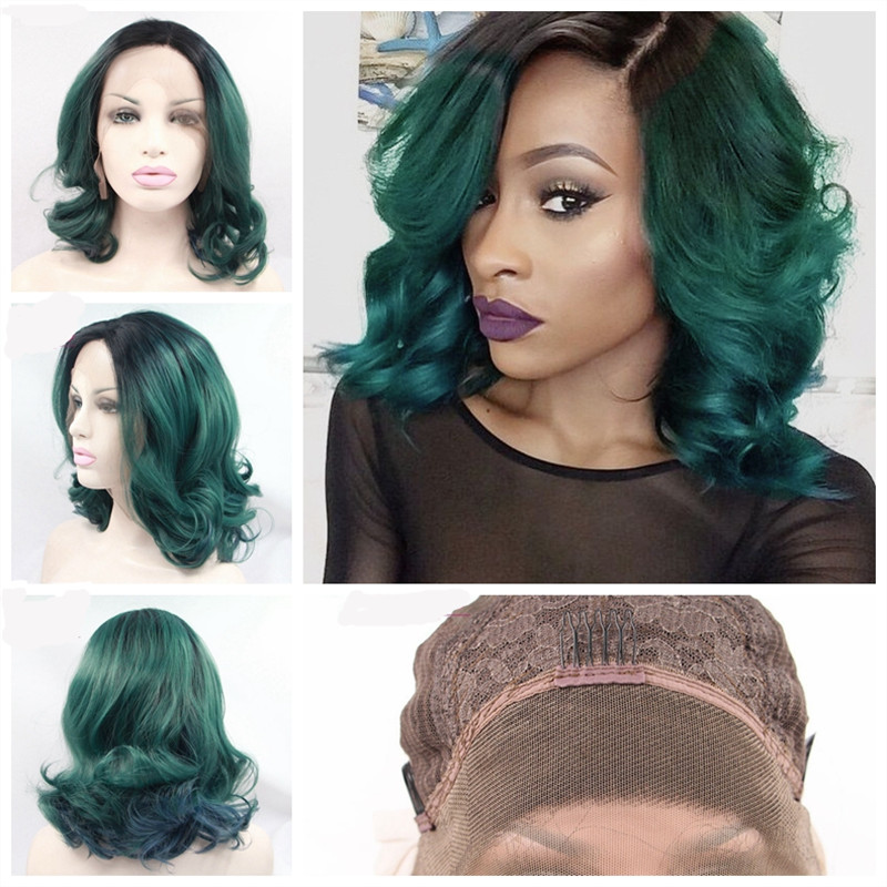 Ombre Black To Teal Green Ombre Hair Color Synthetic Front Lace Wigs