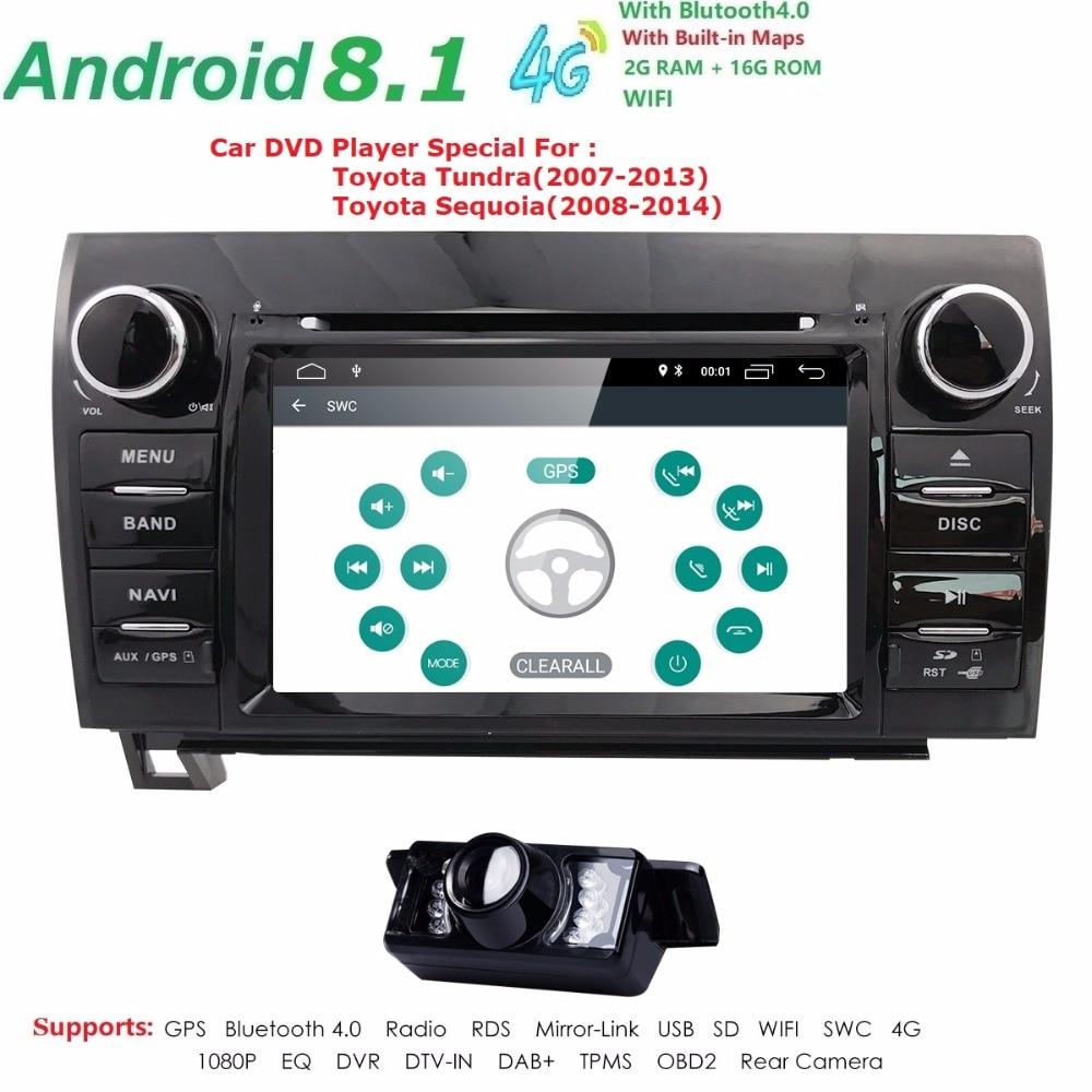 7 pouce 2 Din HD 1024x600 Quad Core Android 7.1 Voiture DVD GPS Pour Toyota Tundra Sequoia 2008 -2013 Stéréo Radio 4g WiFi OBD DVR DAB +