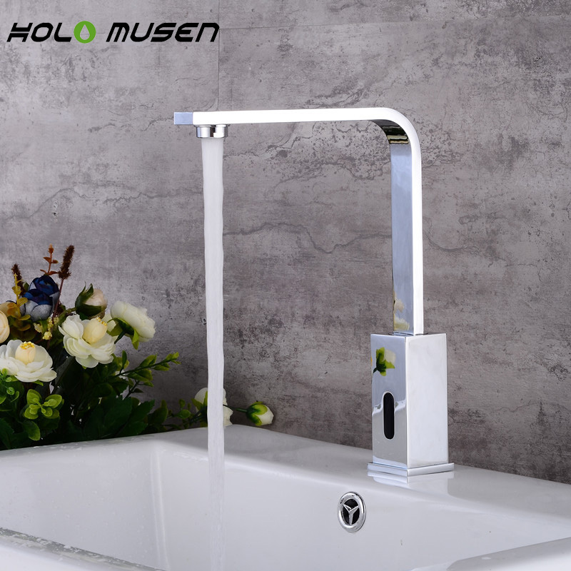 Square & Goose Neck Mãos Livres Touchless do Sensor Automático Infravermelho Sensor de Torneira Do Banheiro Torneira de Bronze Torneira De Poupança De Água