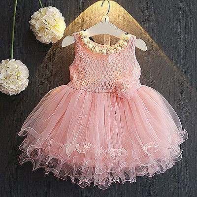 Summer Girls Chic Lace Flower Princess Dresses Kid Party Pageant Wedding Sleeveless Ball Gown Tutu Dresses Pink White cute girls fashion dress summer kid girls sleeveless belt flowers tutu princess party dresses ball gown kids dresses