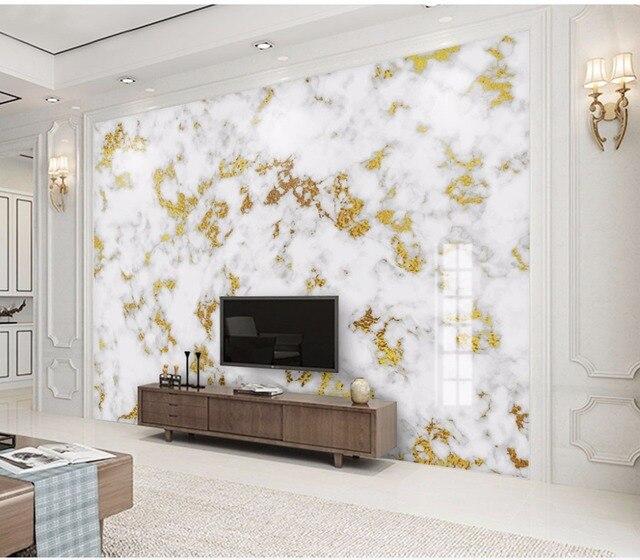 White Marble Texture Golden 3d Stone Wallpaper Mural For Living Room