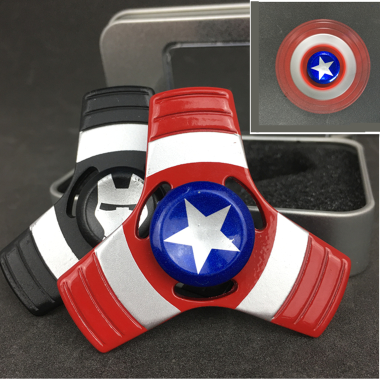 Captain America Fidget Spiner Metal Shield Finger Slide Spinner For ADHD Anxiety Stress Relief Wheel Alloy